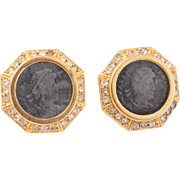 Vintage Ciner Roman Coin Gold-Tone Rhinestone Earrings
