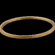 Crown Trifari Gold-Tone Etched Diamond Cut Bangle