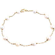 14K Yellow Gold Chain Linked Cultured Pearl Bracelet