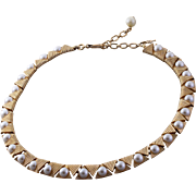 Crown Trifari Faux Pearl Art Deco Styled Choker Necklace