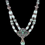 Art Deco Era Czech Signed Green Glass and Brass Lavalier Necklace