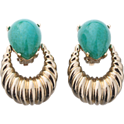 Vintage Panetta Door Knocker Earrings with Jade Green Glass Stones