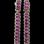 Ciner, Faux Amethyst Glass Channel-Set Dangle Earrings