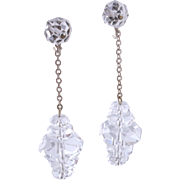 Art Deco Sterling Silver Rock Crystal Dangle Drop Earrings