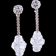 Art Deco Sterling Silver Crystal Drop Dangle Earrings