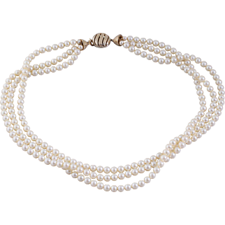 Vintage CINER Torsade Style Three-Strand Simulated Pearl Necklace