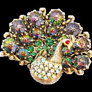 Weiss Rare Peacock Margarita Rhinestone Pin Brooch