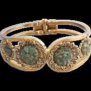 Natural Jade Gold-Plated Clamper Bracelet
