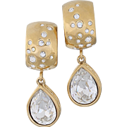 Bold Givenchy Crystal Teardrop Gold-Plated Clip-On Earrings