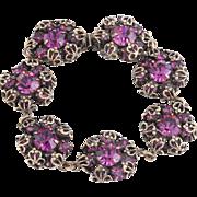 RARE Christian Dior by Kramer Amethyst Rhinestone Brass Bracelet
