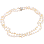 CINER Two Strand Faux Pearl Necklace with Fancy Diamanté Clasp