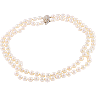 CINER Two Strand Hand-Strung Faux Pearl Necklace with Diamanté Clasp