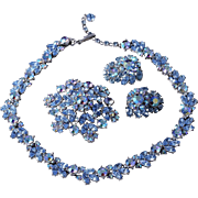 1950s Crown Trifari Blue Aurora Borealis Set (Necklace, Earrings and Brooch)