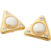 Bold 1980s Yves Saint Laurent Faux Pearl Earrings