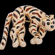 Elegant CINER Enamel and Swarovski Crystal Tiger Pin/Brooch