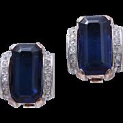 Rare 1940s CROWN TRIFARI STERLING Silver Sapphire Blue Glass Earrings