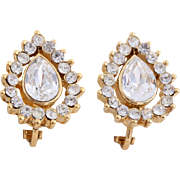 Dainty Trifari TM Teardrop Crystal Clip-On Earrings