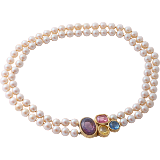 RARE Givenchy Paris New York Two Strand Faux Pearl Collar Necklace