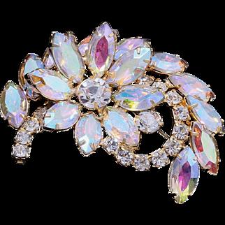 Vintage Aurora Borealis Rhinestone Floral Bridal Brooch