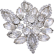 1950s Weiss Clear Rhinestone Wedding Brooch/Pin