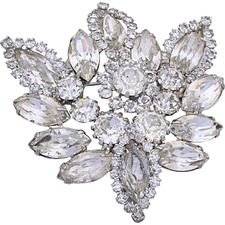 1950s Weiss Clear Rhinestone Wedding Brooch/Pin