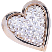 1951 Crown Trifari Rhinestone Heart Brooch/Pin (Vogue Ad Featured)