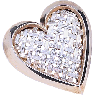1951 Crown Trifari Rhinestone Heart Brooch/Pin (Vogue Ad Featured)