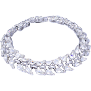 Bridal Vintage Crown Trifari Crystal Rhodium-Plated Bracelet