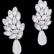 Thelma Deutsch Runway Crystal and Faux Baroque Pearl Drop Earrings