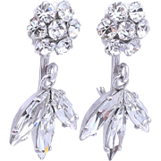 Sherman Vintage Floral Crystal Drop Bridal Earrings
