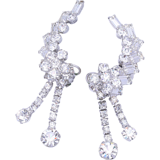 Big Statement Vintage Climber Dangle Crystal Clip Earrings
