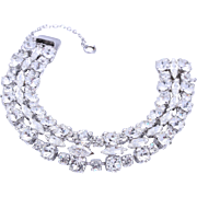 Vintage Sherman Bridal Clear Crystal Bracelet