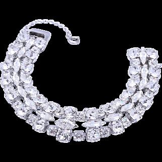 Vintage Sherman Bridal Clear Crystal Bracelet
