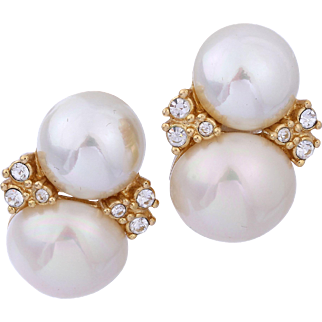 Vintage Christain Dior Double Faux Pearl Stud Bridal Earrings