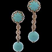 Emmons Faux Turquoise Bead Chain Drop Earrings