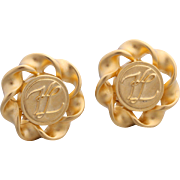 Vintage Karl Lagerfeld Gold-Plated Logo Clip Earrings