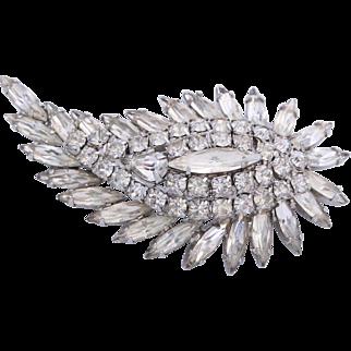 Sherman Cascading Leaf Clear Crystal Bridal Brooch/Pin