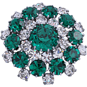 Signed Austria Emerald Green Rhinestone Brooch/Pin