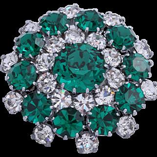 Signed Austria Emerald Green Rhinestone Brooch/Pin