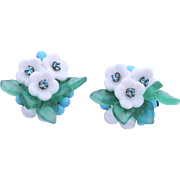 SALE - Eugene Floral Molded Glass Clip Earrings