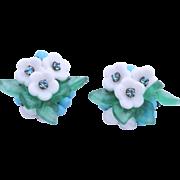 Rare EUGENE Floral Molded Glass Clip Earrings