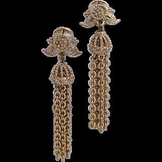 Monet 1972 Bella Long Tasseled Drop Earrings