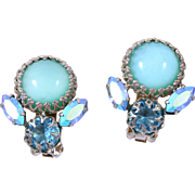 Signed Schreiner Aquamarine Glass Cabochon Rhinestone Clip Earrings