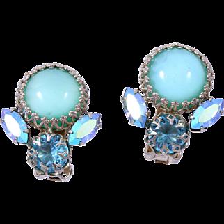 Signed Schreiner Aquamarine Glass Cabochon Rhinestone Clip Earrings