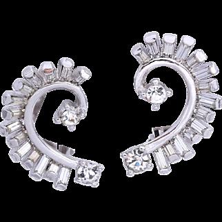 Pennino Bridal  Swirl Rhinestone Climber  Earrings