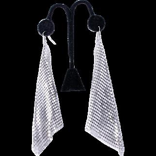 Whiting & Davis Disco Era  Six Inch Dangle Silver-Plated Mesh Earrings