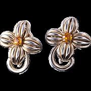 Napier 1950s Quality Gold-Plated Topaz Rhinestone Earrings
