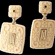 RARE Crown Trifari Asian Inspired Carved Lucite Dangle Earrings