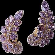 D&E Juliana Crawler Lavender Rhinestone Earrings