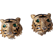 David Hill (Ciner Owner and Designer) 1970s Lion Head Clip-On Earrings